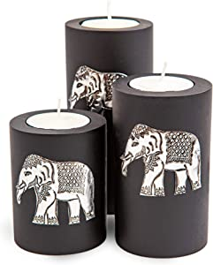 IYARA CRAFT 3 Wooden Candle Holders –Decorative Candle Holders with Inlaid Aluminium Antique Elephant – Intricate Details – Matte Wood Finish – Ideal for Modern & Rustic Settings (Cylindrical Shape)