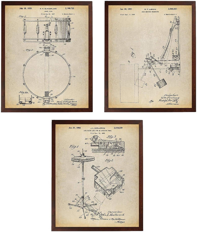 Turnip Designs Drum Art Patent Poster Art Prints Series Set 3 Drummer Art Cymbal Drum Patent Snare Drum Percussion Music Room Decor Boys Room Decor TNP54