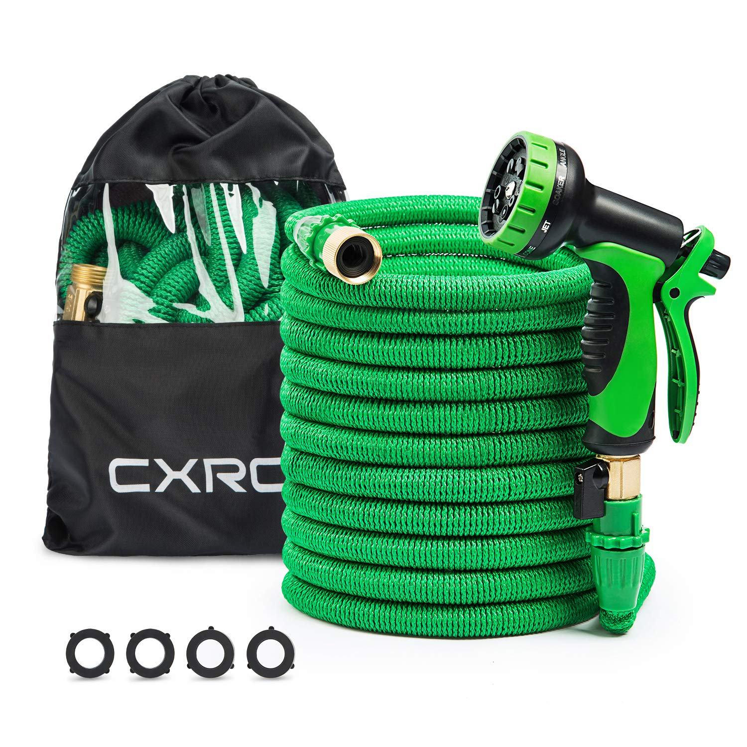 CXRCY Expandable Garden Hoses, Double Latex cores 3 Times expanded car wash Hoses, 3/4 inch Solid Brass Joints, Extra-Strength Fabrics - Flexible Expansion Metal Hose with 10 Features … (50FT) by CXRCY