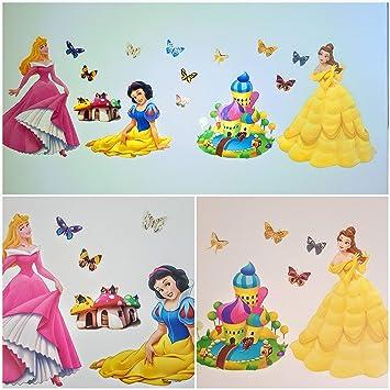 Kibi Wandtattoo Kinderzimmer Prinzessin Disney Wandsticker Prinzessinen Wandaufkleber  Kinderzimmer Wandsticker Babyzimmer (A)