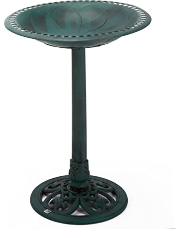 Garden Ornaments Vintage Used Repainted Black Cast Iron Metal Birdbath Bowl Garden Décor Old Colours Are Striking