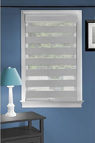 Cordless Serenity Sheer Double Layered Zebra Shade Horizontal Cordless Window Shade Blind Roller Blinds Treatments 48×72, Grey