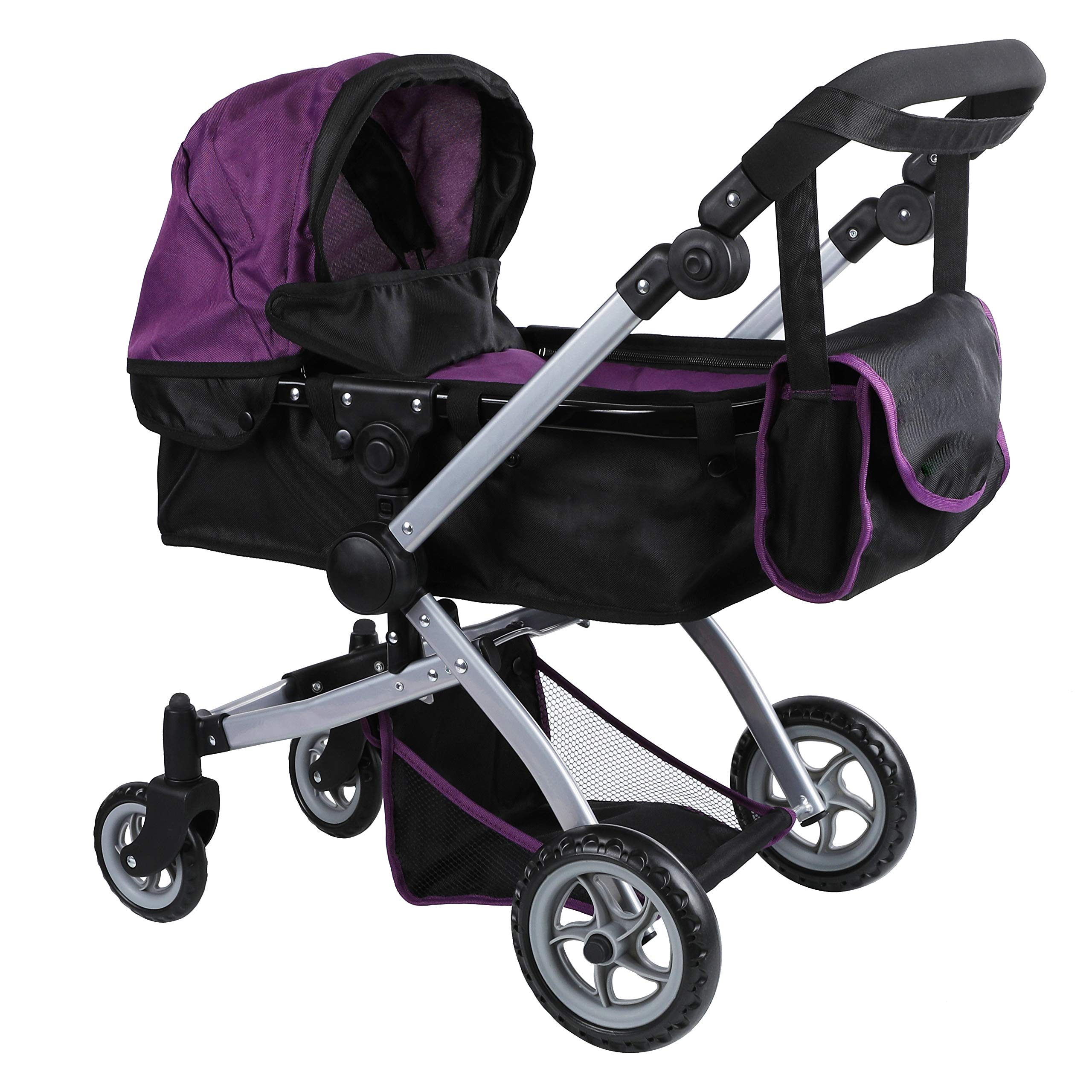 Babyboo Deluxe Doll Pram Color PURPLE & BLACK with Swiveling Wheels & Adjustable Handle and Free Carriage Bag - 9651B PRP by Mommy & Me Doll Collection