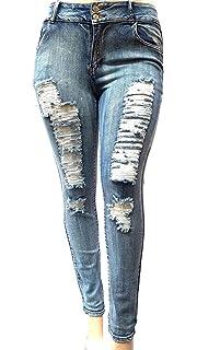 763b2355dee Jack David Sweet Look Pasion Womens Plus Size Acid Wash Distressed Ripped  Blue Skinny