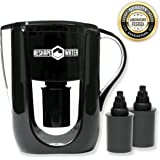 Alkaline Water Pitcher With Fluoride Filter - 3.5 liter Negative ORP 6 Stage Filtration With 2 Replacement Filters - Removes Chlorine, Heavy Metals While Raising pH For Great Tasting Filtered Water