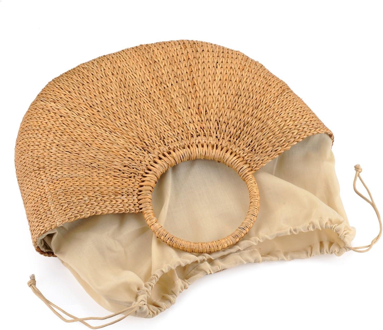 Naturel Chic tiss/é /à la main poign/ée ronde Ring Straw fourre-tout Retro Grand Casual /ét/é femmes plage sacs /à main