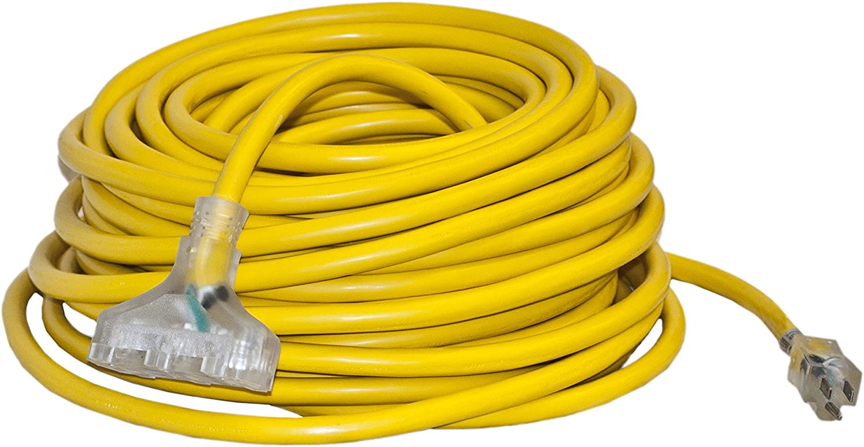ALEKO ETL Heavy Duty 100 Ft Extension Cord SJTW Triple Tap Lighted Plug Outdoor