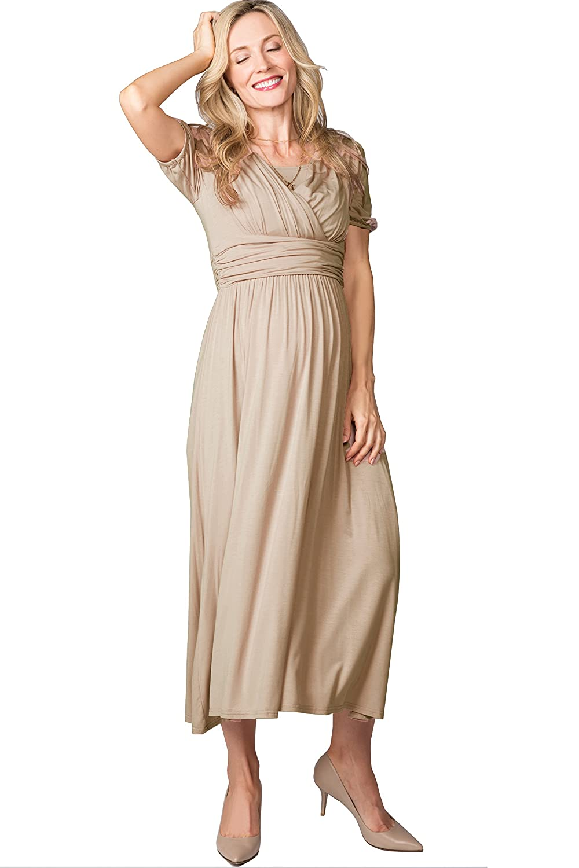 f85e62a7258ef Maternity Nursing Breastfeeding Summer Beach Casual Empire Waist Maxi Dress  Short Sleeve at Amazon Women's Clothing store: