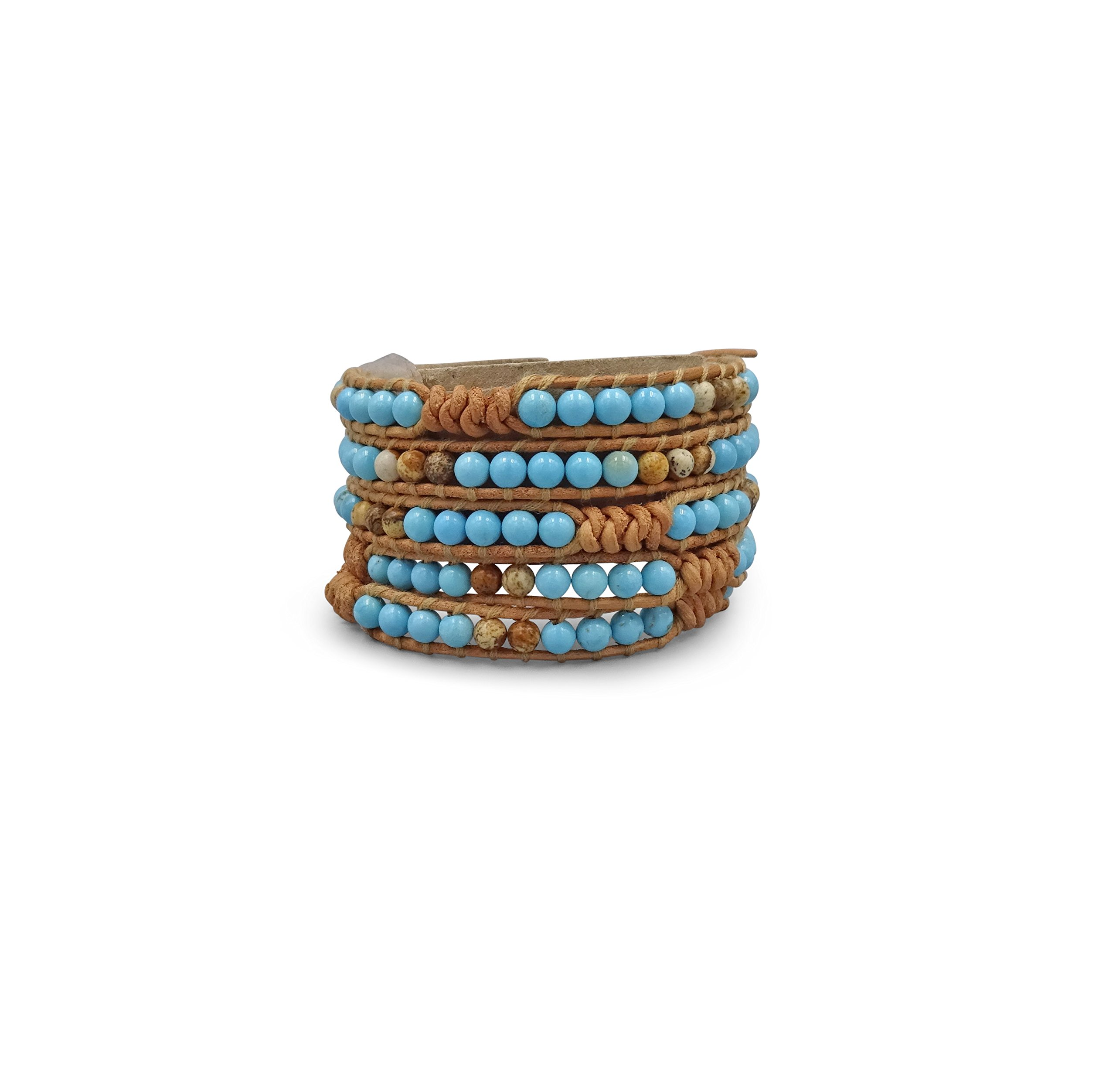 MGR Multi-layer Hand Crafted Boho Blue Turquoise Stone Beaded on Genuine Leather Super 5 Wrap Bracelet 35'' Long.