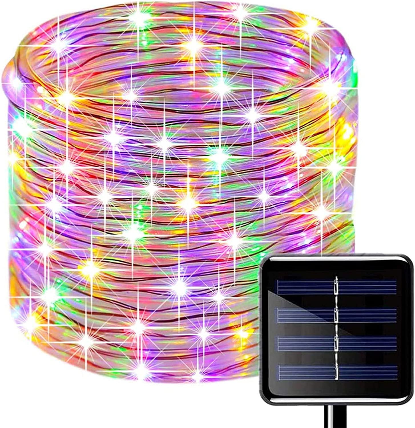 SUNSEATON Solar Rope Lights,200 LEDs 66ft/20M Waterproof Solar String Copper Wire Light,Outdoor Rope Lights for Garden Yard Path Fence Tree Wedding Party Decorative (Multicolor)