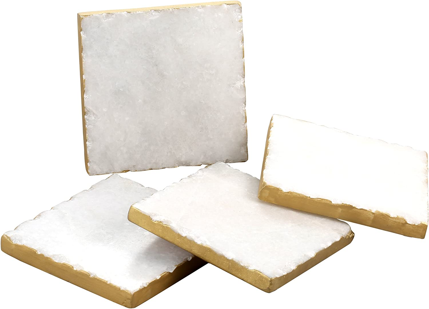 Thirstystone Square White Marble/Gold Edged Coasters (Set of 4), Multicolor