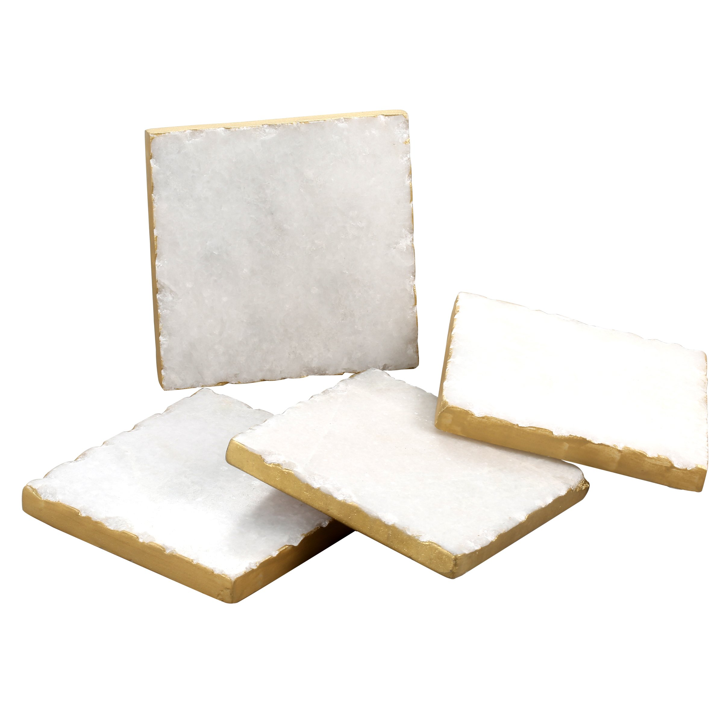 Thirstystone NMKA2170 Square White Marble/Gold Edged Coasters (Set of 4), Multicolor by Thirstystone