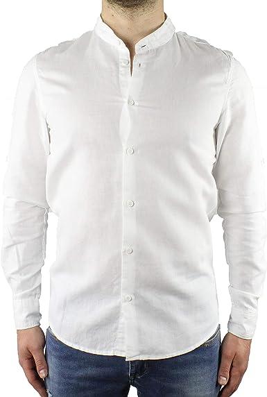 Camisa de Hombre de Lino con Cuello Coreano Blanco de Manga Larga de Verano Slim Fit Serafino Sartorial Mangas revolables Bianco XL: Amazon.es: Ropa y accesorios