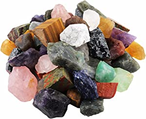 mookaitedecor 1 lb Bulk Natural Raw Crystals Rough Stones for Tumbling,Cabbing,Polishing,Wire Wrapping,Wicca & Reiki Crystal Healing,Assorted Stones