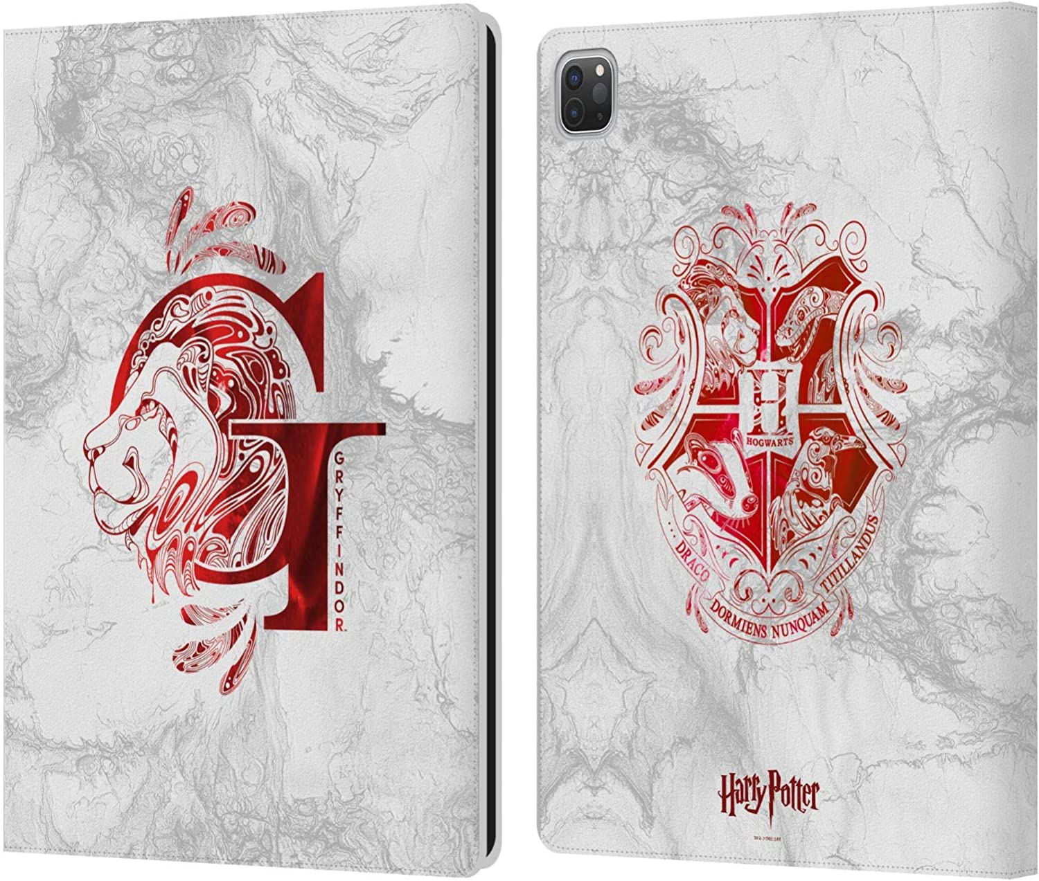 Head Case Designs Officially Licensed Harry Potter Gryffindor Aguamenti Deathly Hallows IX Leather Book Wallet Case Cover Compatible with Apple iPad Pro 12.9 (2020/2021)