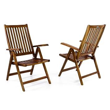 Fesselnd Divero Stuhl Akazie Holz 2er Set Hochlehner 5 Fach Verstellbar Klappbar  Garten