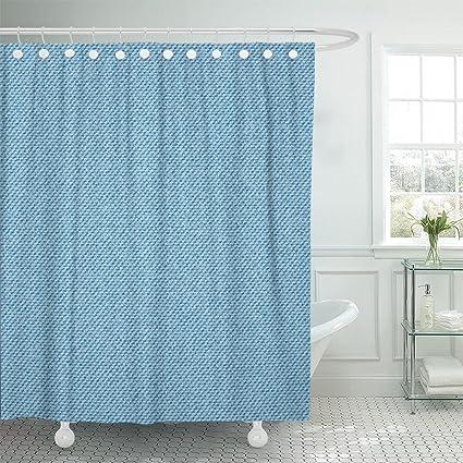 Amazon Emvency Shower Curtain Burlap Light Blue Jeans Denim