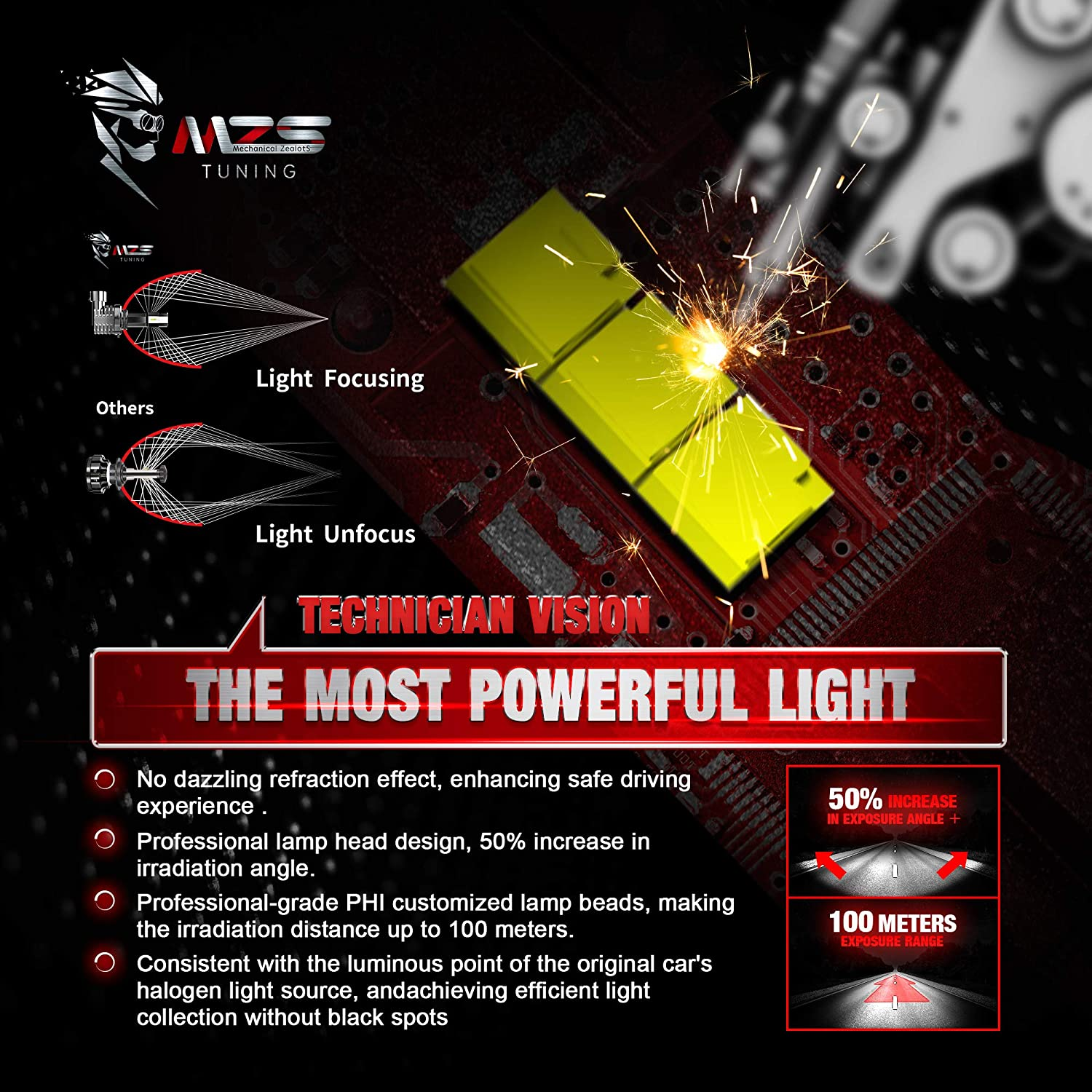 MZS Fanless 9006 HB4 LED Headlight Bulbs,12000LM Wireless Plug and Play Conversion Kit Super Small Size 360 Adjustable 6500K White Car Low Beam Fog Light Halogen Replacement