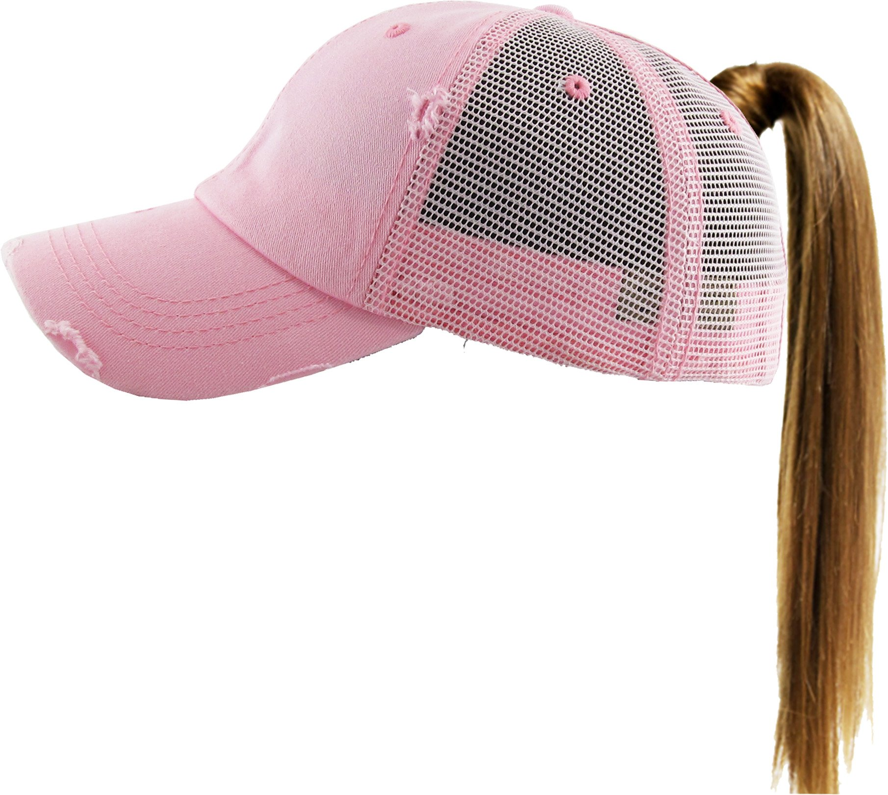 KBETHOS New Glitter Designed Leopard Ponytail Hat Baseball Caps for Women Cotton and Mesh Trucker Better Made Original Tags (Adjustable, (002) Pink)