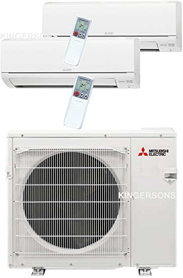 Mitsubishi Dual Zone Ductless Split System Wall Mount Unit 15K + 15K,  30,000 BTU SEER