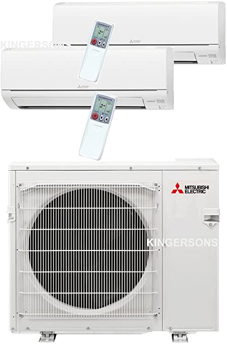 Mitsubishi 27,000 Btu 20 Seer Dual Zone Ductless Mini Split   9K 18K   Heat