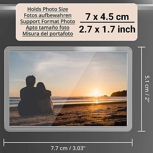 Kurtzy Marcos de Fotos en Blanco con Imán para Refrigerador - (Paquete de 50)- 7cm x 4.5cm Tamaño de inserción de Foto, Marcos Acrílico Transparente para Fotos Familiares y Diversión Niños: Amazon.es: