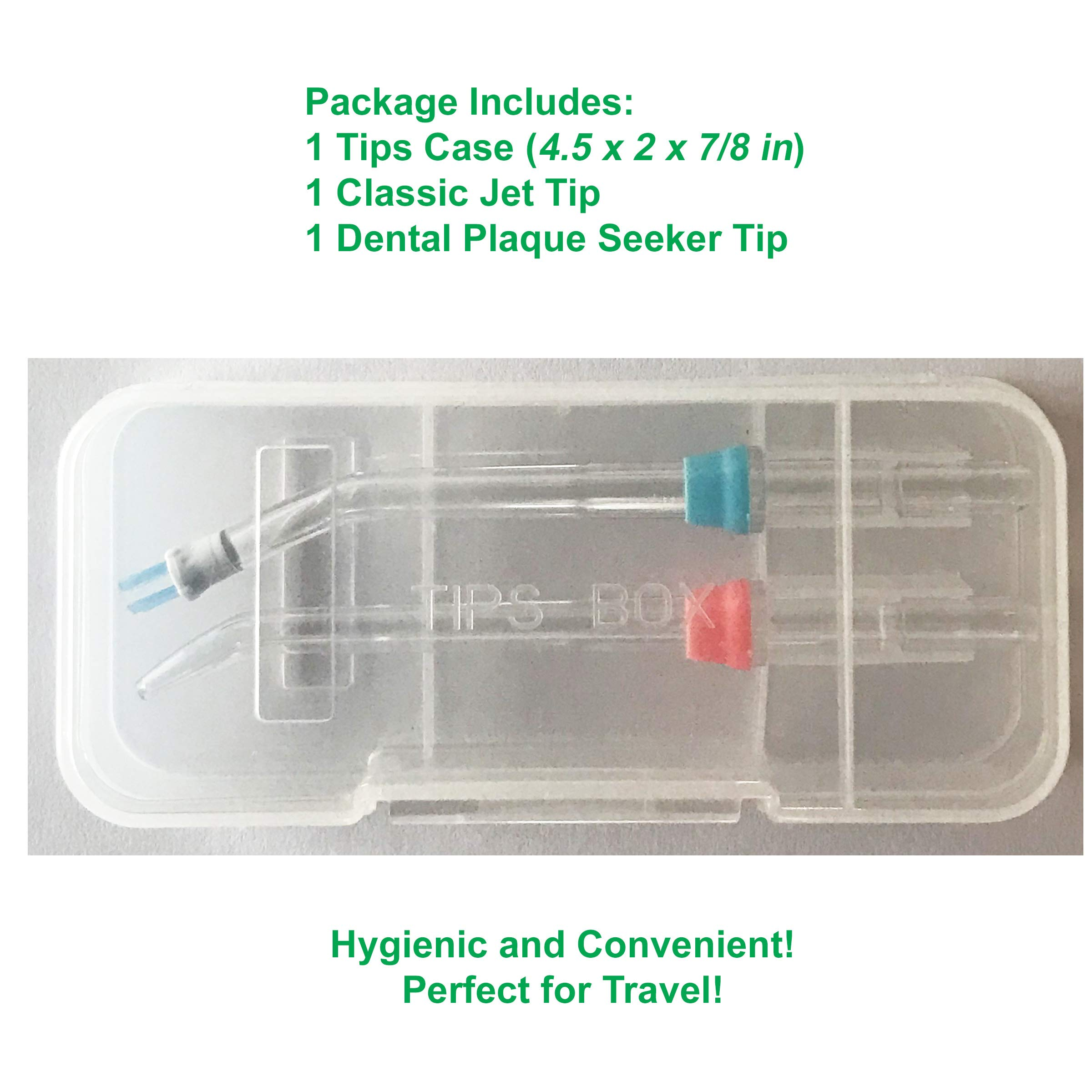 Hygienic Storage Case For Waterpik Replacement Tips, Included 1 Classic Jet Tip & 1 Dental Plaque Seeker Tip, Convenient For Travel by iHealthia (Image #2)