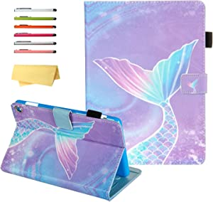 """UUcovers iPad Air 3 10.5"""" 2019 Case 3rd Generation, iPad Pro 10.5 inch 2017 Cover with Pencil Holder, Folio Stand Card Pocket Smart Shell PU Leather Wallet [Auto Sleep/Wake], Pink Mermaid Tail Scale"""