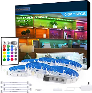 Rgb Under Cabinet Lighting 6 Pcs X 19 6in Flexible Led Strip Lights Kit 5050 Leds Color Changing Lights With Remote Home Decor Mood Lighting For