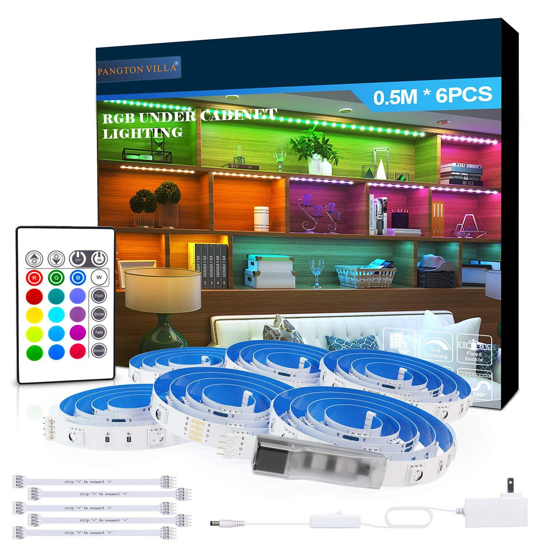 RGB Under Cabinet Lighting, 6 PCS x 19.6In Flexible LED Strip Lights Kit, 5050 LEDs Color Changing Lights with Remote, Home Decor Mood Lighting for Bedroom, Room, Kitchen, Cupboard, Desk, TV, Shelf