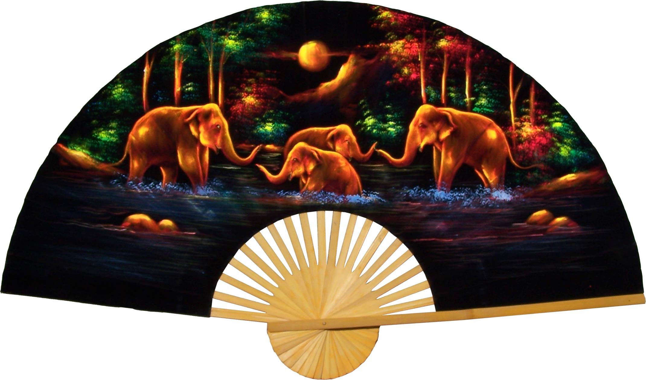 Large 60'' Folding Wall Fan -- Velvet Elephants -- Original Hand-painted by Oriental-Decor