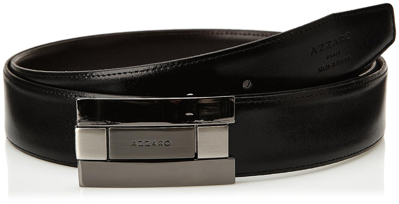 fb7b2d1ed6ec Azzaro 1391050 - Ceinture - Uni - Homme - Noir (Noir Marron) - FR  3.5  (Taille fabricant  110)  Amazon.fr  Vêtements et accessoires