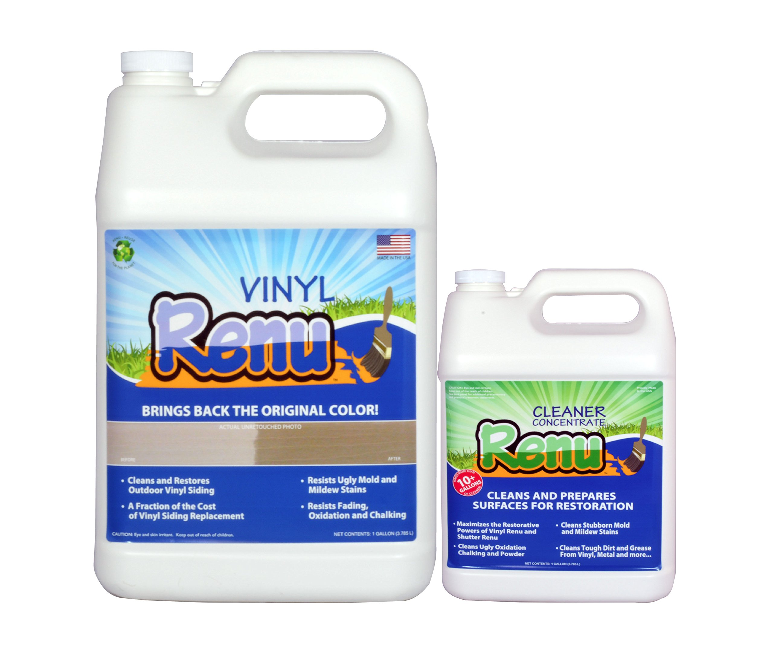Vinyl Renu 1 Gallon Kit Will Restore Color And Shine To Faded Plastic, Metal And Painted Surfaces. It Is An Easy To Use Longer Lasting, No Mess Alternative To Paint. Apply Once Every 10 Years.