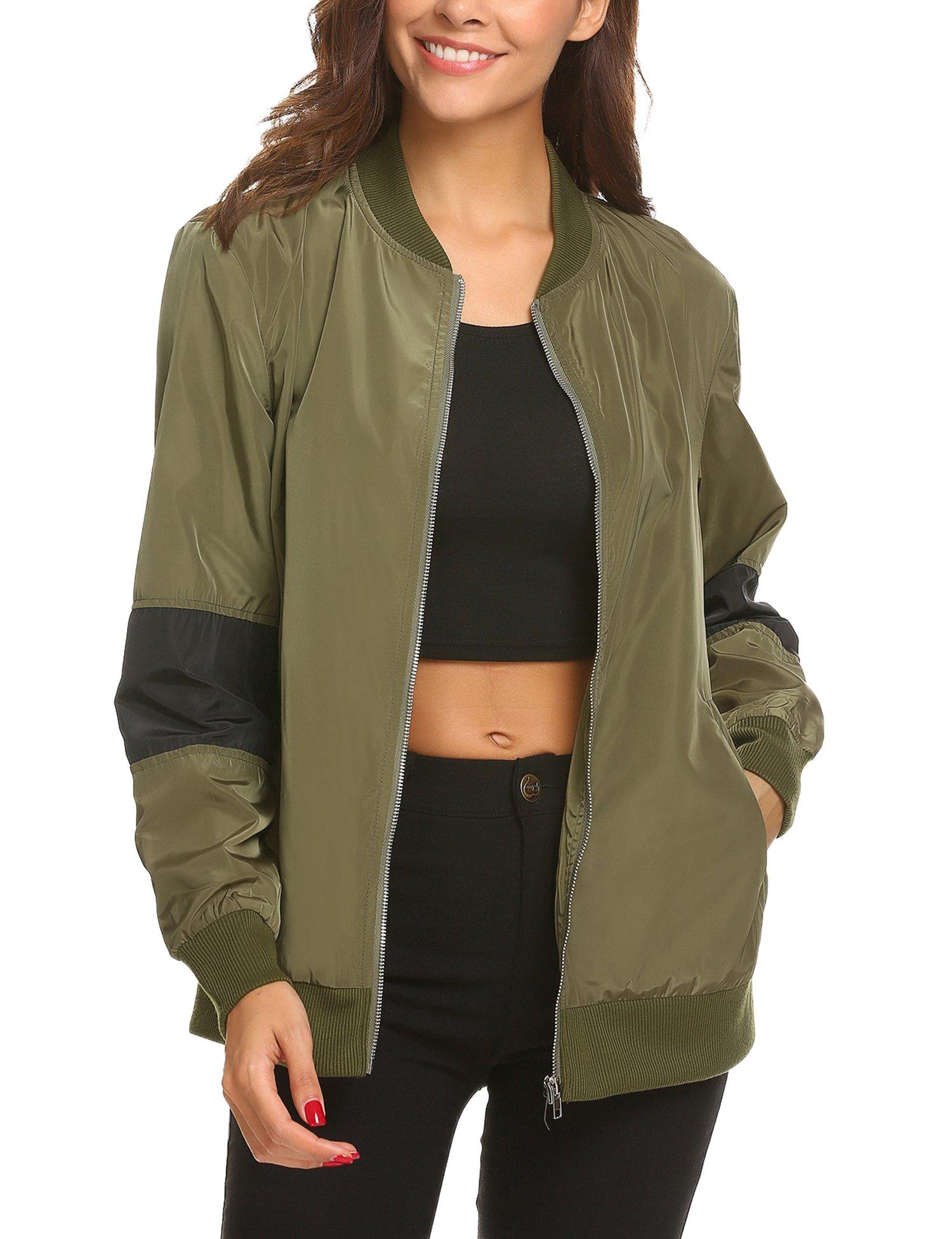 UNibelle Women's Zip up Striped Satin Baseball Bomber Jacket Coat with Pockets, Army Green, Medium