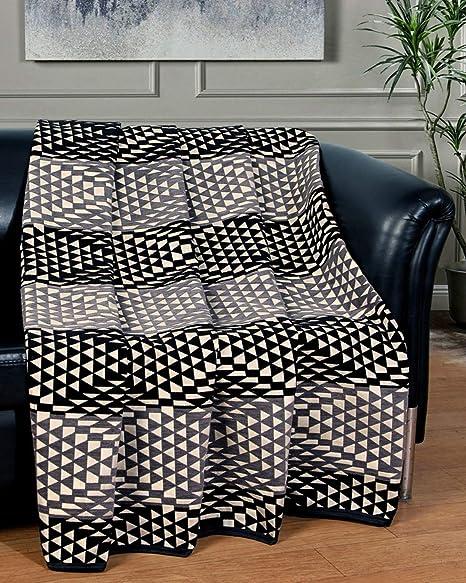 Nendle Multi-Purpose Soft Throws for 2 Seater Sofa Set Couch  Sofa Com Bed   Long Sofa Chair  L Shape Sofa Set  Sectional Sofa Set (137x160cm, Black ...