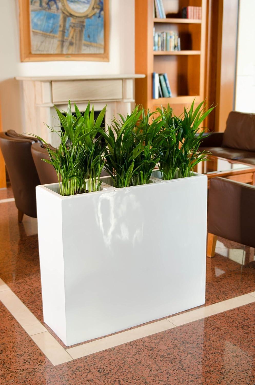 Pflanzkübel Raumteiler Trennelement Sichtschutz Fiberglas weiß