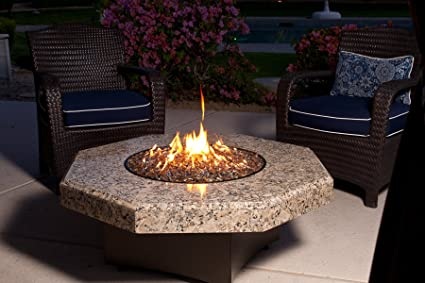 Amazoncom Oriflamme Gas Fire Table Giallo Fiorito Octogon - Octagon fire pit grill table