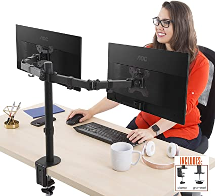 Gentil Stand Steady Dual Monitor Desk Mount Stand   Height Adjustable 2 Monitor  Stand With Full Articulation