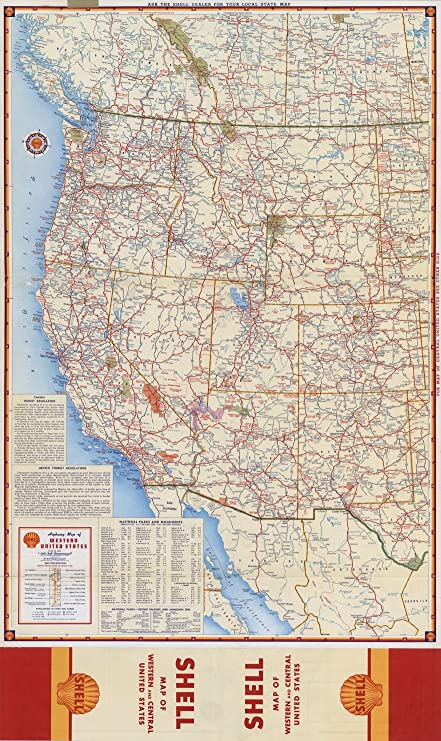 Amazoncom Map Poster Shell Highway Map Of Western United States - Map-western-us