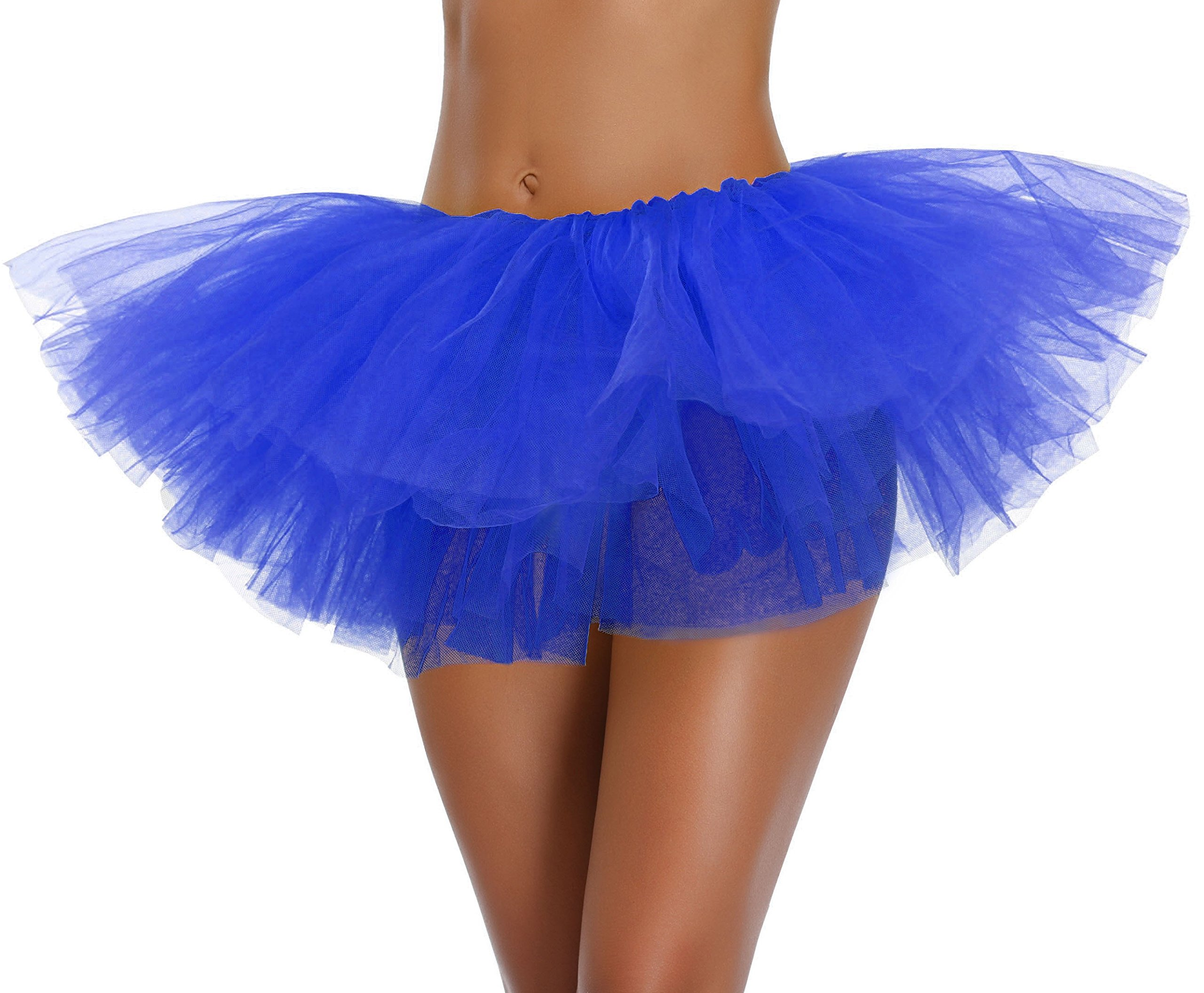 Women's, Teen, Adult Classic Elastic 3, 4, 5 Layered Tulle Tutu Skirt (One Size, Blue 5Layer)