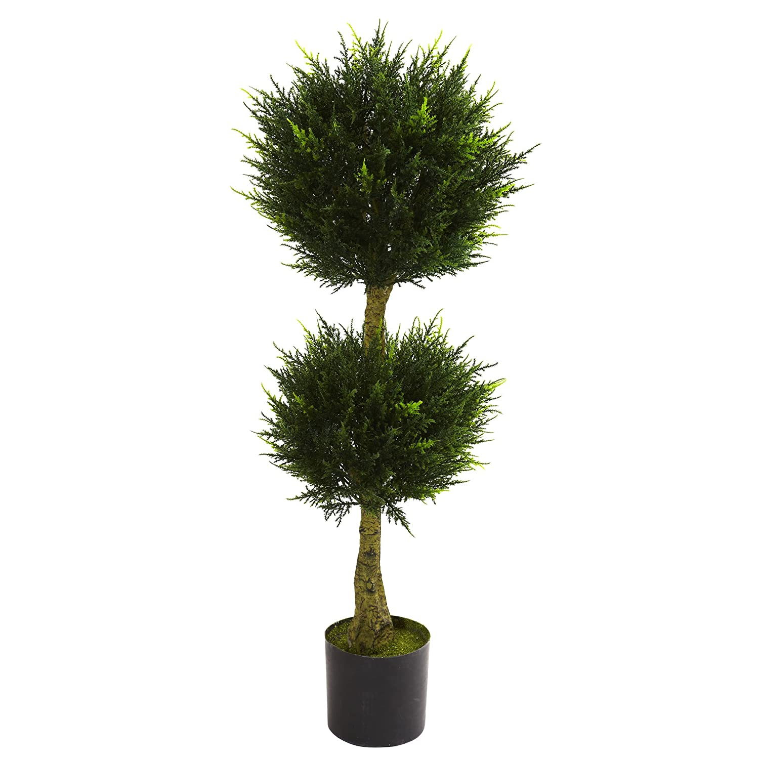 Nearly Natural 5392 Double Ball Cypress Topiary UV Resistant Tree, 4-Feet, Green