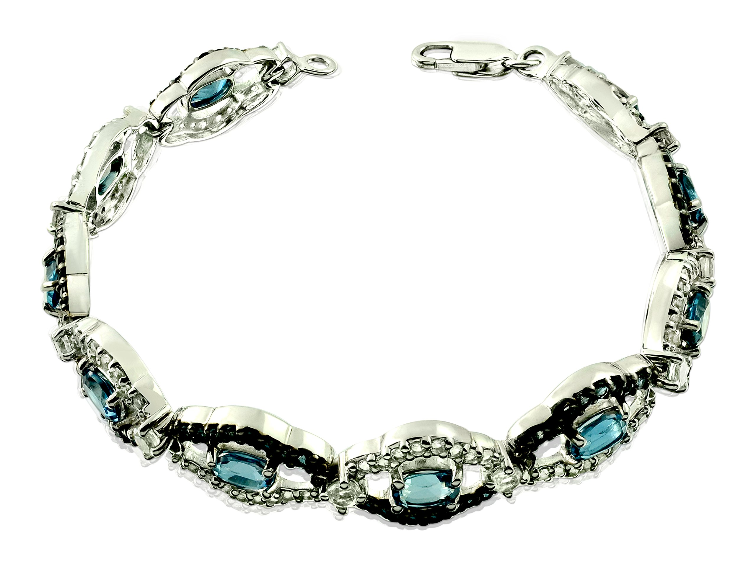 10 Carats Natural Gemstone Tennis Bracelet 10-Stone Style Oval Shape, 7-inch-long with Lobster Claw Clasp (Blue) by RB Gems