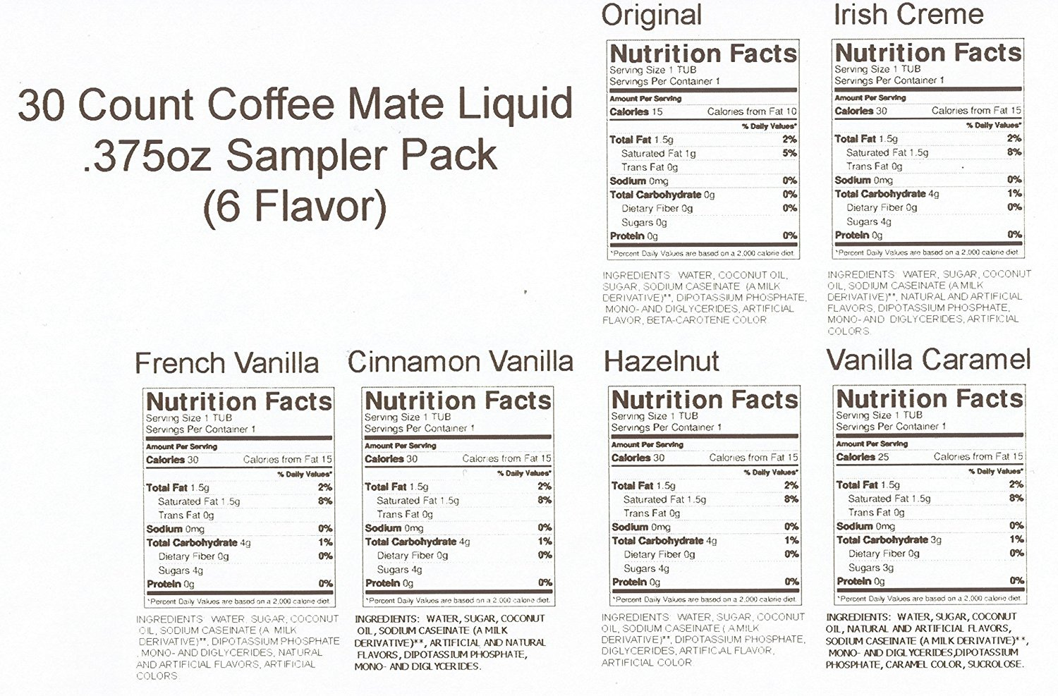 30 Count Coffee Mate Liquid .375oz Sampler Pack (6 Flavor) by Nestle Coffee Mate (Image #2)