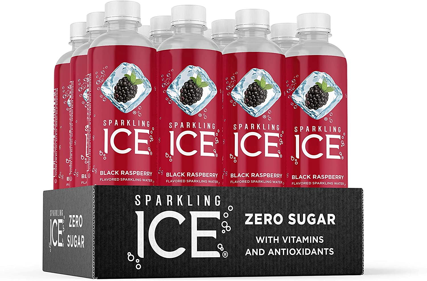 Sparkling Ice, Black Raspberry Sparkling Water, with Antioxidants and Vitamins, Zero Sugar