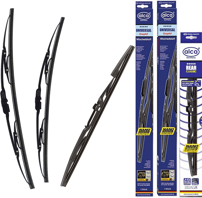 2 2015-On Alca Germany Universal Windscreen Wiper Blades 221714 Front Rear Set