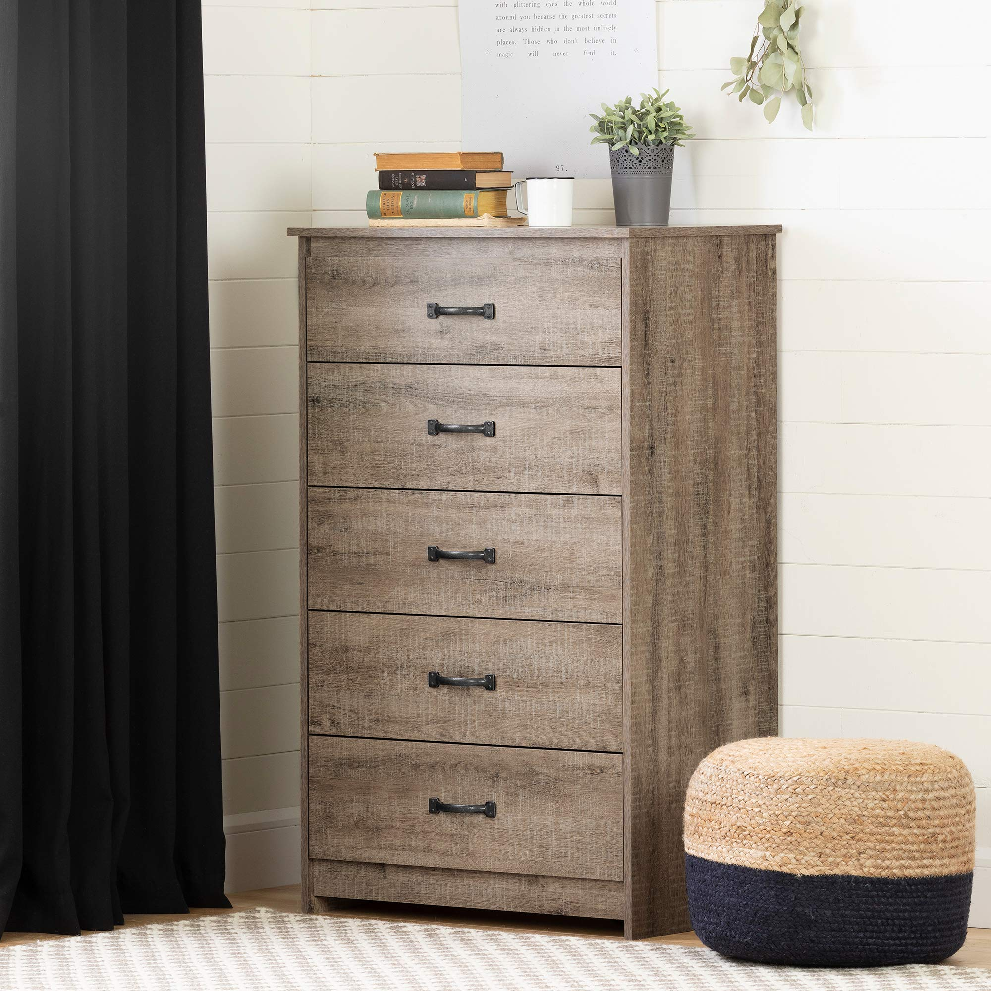 South Shore Tassio 5-Drawer Chest Weathered Oak by South Shore