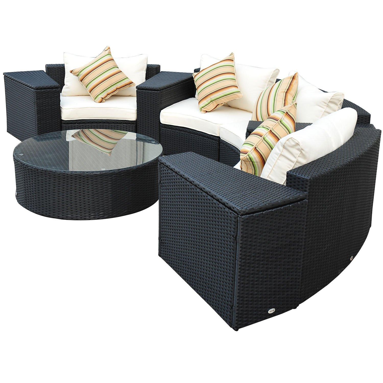 Outsunny Luxus 21 tlg. Polyrattan Gartenmöbelset rund schwarz inkl ...