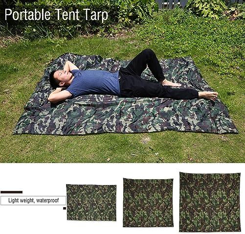 Vbestlife Waterproof Camping Shelter Tent Tarp,Camouflage Outdoor Portable Lightweight Rainproof Mat RainTent Tarp Shelter Beach Picnic Blanket Mat