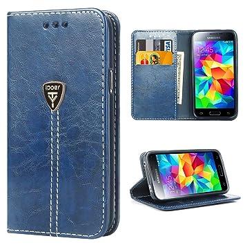 Galaxy S5 Funda con tapa libro piel y TPU cartera cover Funda de cuero carcasa bumper protectores S5 estuches soporte flip Case para Samsung Galaxy ...