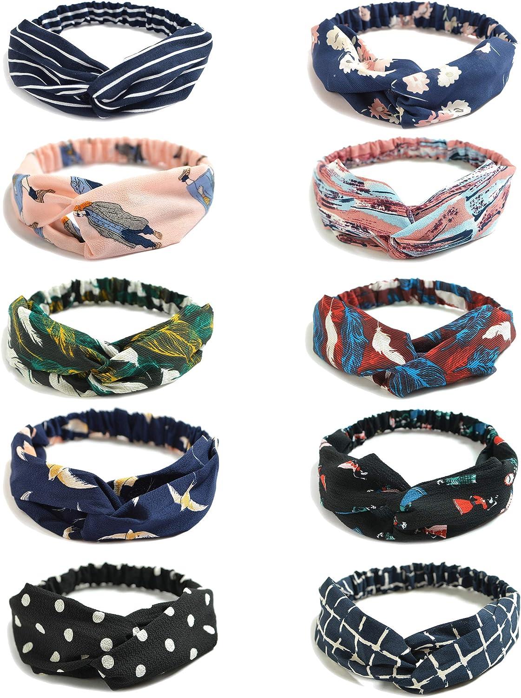 10 Pack Womens Headbands Boho Flower Printing Twisted Criss Cross Elastic Hair Band Accessories